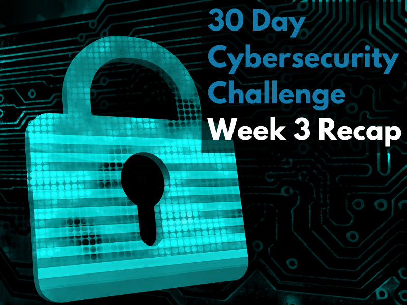 30-day Cybersecurity Challenge: Week 3 Recap